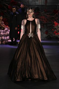 Wedding Cocktail Gowns - Wine Brown Frock Gown with Silver cape by Manish Malhotra Empress Story 2015 Couture collection Cocktail Outfit, Cocktail Gowns, Indian Gowns, Indian Outfits, Indian Wear, Manish Malhotra Lehenga, Lehenga Choli, Anarkali, Saree Gown