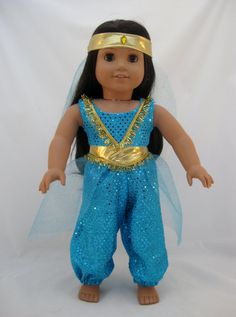 Thanks for viewing my Princess Jasmine costume that fits American girl or other 18 dolls. This magical costume consists of a cropped top made American Girl Doll Costumes, American Girl Clothes, American Girls, Ag Doll Clothes, Doll Clothes Patterns, Doll Patterns, Dress Patterns, Princess Jasmine Costume, Girl Dolls