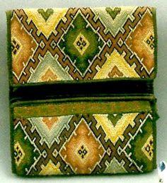 Pocketbook; Needlework, Concentric Diamond Pattern. 1780-1800