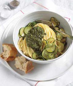 Basil Pesto Pasta With Zucchini and Mint