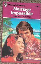 MARRIAGE IMPOSSIBLE  MARGARET PARGETER HARLEQUIN NEW ROMANCE BOOK VINTAGE #2260