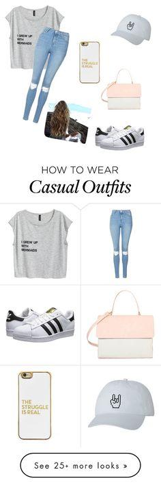 """casual"" by gassvictoria on Polyvore featuring Topshop, adidas Originals, Eddie and BaubleBar"