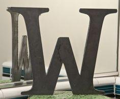 "Metal Letters W Sign 8x9.5"", modern Raw Metal, Recycled Welded Steel, CNC Plasma #Modern"