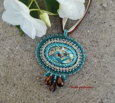 Bead embroidered necklace with Sea sediment jasper