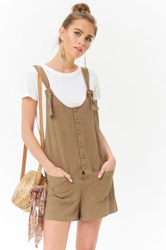 Product Name:Linen-Blend Button-Front Romper, Category:dress, Price:19.9