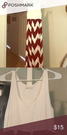 """Burgundy and cream chevron dress Chevron maxi dress. Only worn twice. Too long for me. I'm 5"""" 5' and it's goes past my ankles. Dresses Maxi"""