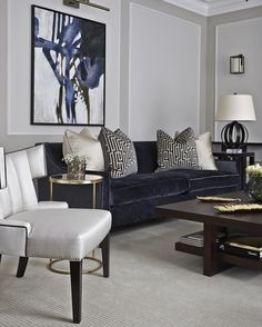 A truly stunning #livingroom from @boscolodesign we love our spencer sofas in this plush Navy velvet beautifully contrasted with our statement bespoke occasional chair.
