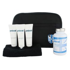 #men'sskincare basics #body & #joint #collagen, #moisturising facial gel 20ml, facemask 20ml, #microdermabrasion 20ml, flannel + travel bag.Feel and look your best with this handy travel bag filled with the No.1 collagen capsules and three skincare essentials suitable for use before and after #shaving.£49.96