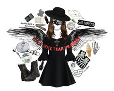 """""""Angel of Death"""" by tinykittendoll ❤ liked on Polyvore featuring Chicwish, Witch Worldwide, ASOS, Sony, Sharpie, Stonebriar Collection, Frye, WALL, Chan Luu and Kreepsville 666"""