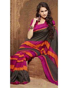 Supercool Black Bhagalpuri Silk Saree