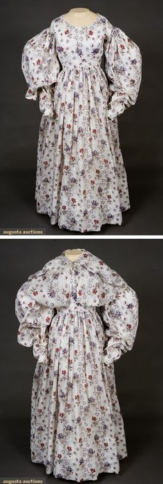 Red, Purple & White Dress & Pelerine, 1830s
