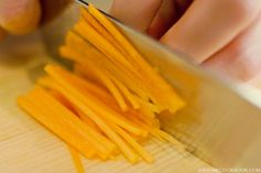 "Japanese cutting technique ""Hosogiri (細切り)"" which you cut the vegetable into julienne strips. Easy Japanese Recipes, Asian Recipes, Cooking Tips, Cooking Recipes, Japanese Chef, Latest Recipe, Breakfast Dessert, Cooking School, Snack Recipes"