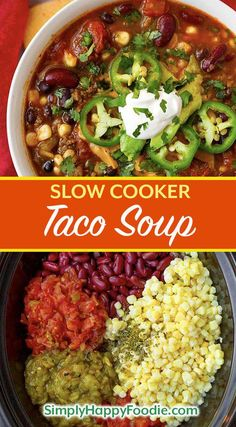 Slow Cooker Taco Soup is tasty Mexican soup that uses up some of the canned goods that are hanging out in your pantry. With beans, corn, ground beef or turkey, and some flavorings, you can easily make this delicious crock pot Taco Soup! Sopa Crock Pot, Crock Pot Tacos, Slow Cooker Tacos, Slow Cooker Soup, Slow Cooker Ground Beef, Slow Cooker Black Beans, Soup With Ground Beef, Ground Beef Recipes, Black Cooker