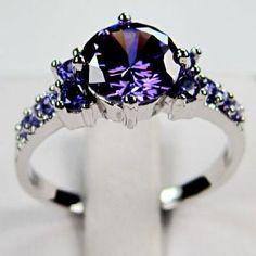10K White Gold Filled Multi-Stoned Amethyst (Size 9) - Free shipping