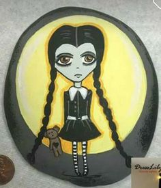 Wednesday Addams painted Rock