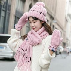 Winter 3 in 1 hat scarf and gloves for women bow knitted bobble hats d46bc42a686