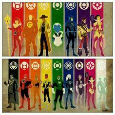 Red Lantern Corps - Mera - Atrocitus - Agent Orange - Lex Luthor - Larfleeze - Sinestro Corps - Scarecrow - Sinestro - Green Lantern Corps - Ganthet - Hal Jordan - Blue Lantern Corps - Barry Allen - Flash - Saint Walker - Indigo Tribe - Ray Palmer - Atom - Indigo-1 - Star Sapphire - Wonder Woman - Carol Farris - Black Lantern Corps - Black Hand - White Lantern Corps - Deadman - Bloody Samoan