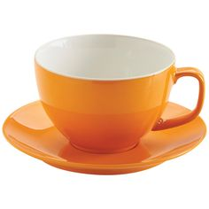 Price & Kensington Bright Orange Large Cup and Saucer 15oz ($6.17) ❤ liked on Polyvore featuring home, kitchen & dining, drinkware, fillers, kitchen, orange, decor, tea cup saucer, funky mugs and stoneware mugs