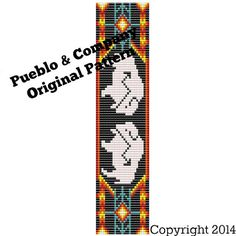I designed this Native American White Buffalo with Red Orange bead loom pattern for use with a beading loom or with square stitch. Its a Pueblo &