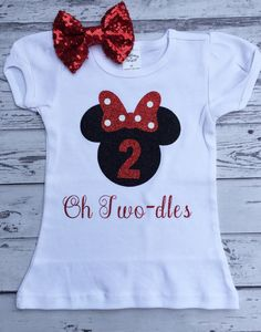 Black And Red Oh Twodles Minnie Mouse 2nd Birthday Shirt Toodles Outfit Photo Prop