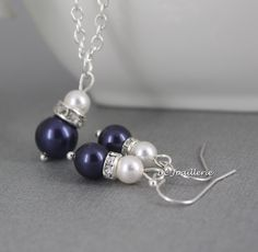 Pearl Jewelry Set Swarovski Necklace and Earrings Bridesmaid Gift for Her Navy Necklace Wedding Jewelry Mother of Bride Mother of Groom Gift by dcjoaillerie on Etsy https://www.etsy.com/ca/listing/216861192/pearl-jewelry-set-swarovski-necklace-and