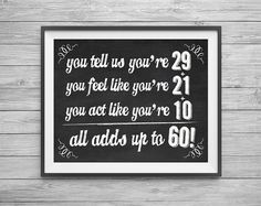 Printable 8x10 Sign 60th Birthday Party Math By Nvitecustomprints Anniversary Chalkboard