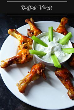 A healthier version of Buffalo wings with a blue cheese dip. The chicken is grilled, not deep fried, and marinated in Frank's Hot sauce. The dip is made with greek yoghurt and not sour cream and mayonnaise. Still tastes amazing. Healthy Dinner Recipes, Appetizer Recipes, Family Meals, Kids Meals, Crockpot Recipes, Soup Recipes, Breakfast Snacks, Buffalo Wings, Irish Recipes