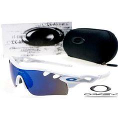 $13 - Cheap oakley free shipping radarlock path sunglasses white / blue iridium for sale