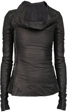 Rick Owens Black Leather Side Zip Jacket. Saw it in Iceland and now I dream of it