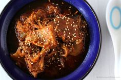 Kimchi Stew with Beef recipe using slow cooker. Tender and delicious! Prepare it for 5 mins and forget about it for half of the day.