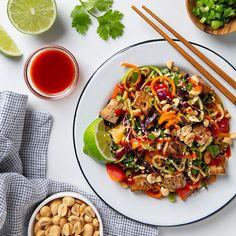 Rainbow Vegetable Pad Thai with Tofu! | picklesnhoney.com