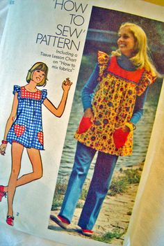 Smock TOP How To Sew Bikini SHORTS PANTS Pattern 1970s by AppelJar, $6.50