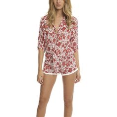 Poupette St Barth Kim Romper ($265) ❤ liked on Polyvore featuring jumpsuits, rompers, women, tie-dye rompers, poupette st barth, playsuit romper, orange romper and fitted romper