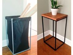 Fantastic Pic DIY side table from a laundry bag - Easy! // DIY side table from old Ikea l . Strategies On certainly one of my very repeated visits to IKEA I found cheaper lacking tables which were the p Laundry Hamper, Diy Side Table, Home Diy, Ikea Hack Side Table, Furniture Diy, Furniture Hacks, Ikea Diy, Ikea Laundry, Best Ikea