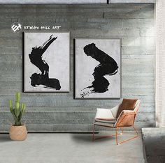 Abstract Painting Original Art Large Paintings on Canvas, Black and White Set of 2 Painting - Ethan Hill Art No.P39