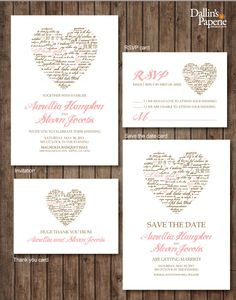 Invitations:  Pink Brown Heart, Wedding Invitation printables, Customized DIY, Thank you card, Save the date, RSVP. $30.00, via Etsy.