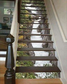 Maligne River Stair 66 Risers Staircase Stairway Stairs Risers Stickers Mural Photo Mural Vinyl Decal Wallpaper Removable - coole Wohnideen - Pictures on Wall ideas Decoration Photo, Stair Risers, Stair Steps, Stair Railing, Beautiful Waterfalls, Stairways, My Dream Home, Home Projects, Pallet Projects