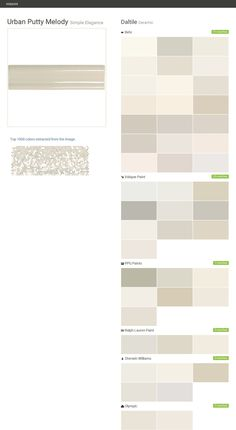 Urban Putty Melody. Simple Elegance. Ceramic. Daltile. Behr. Valspar Paint. PPG Paints. Ralph Lauren Paint. Sherwin Williams. Olympic.  Click the gray Visit button to see the matching paint names.