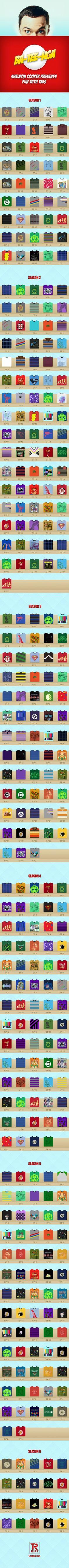 Bazinga! Todas las franelas de Sheldon en una infografía (via @Geek's Room y via @zitelmann)