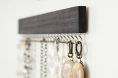 silver and walnut brown wood necklace display racks by fairlywell