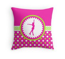 Throw Pillow -Figure Skating - Pink and Green Polka-Dots by gollygirls