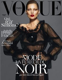 Kate Moss by Mert and Marcus for Vogue Paris September 12. One of three covers, the other two feature Daria Werbowy and Lara Stone.