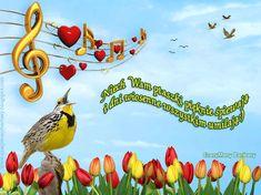 Piękny, wiosenny ruchomy obrazek dla Przyjaciół - WIOSENNE POZDROWIENIA