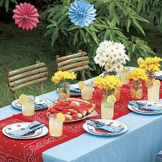Backyard BBQ- I love the use of bandanas for table runner and napkins, jelly jars for drinks and vases, & daisies