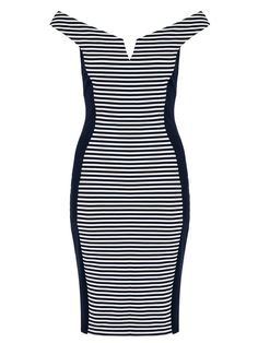 Quiz Navy And White Stripe Bardot Panel Dress Dresses Online, Dresses Dresses, Panel Dress, Bardot, Navy And White, Ladies Fashion, Womens Fashion, Bodycon Dress, Lady