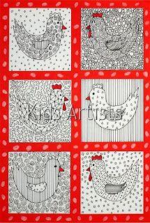 Kids Artists: Patterned chicken