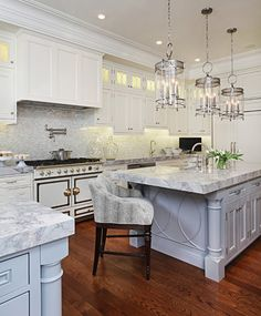 Grand Kitchen with Two Islands & La Cornue Range traditional kitchen