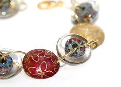 Bracelet Lampwork Glass Handmade Jewelry Disc Bead by susansheehan,