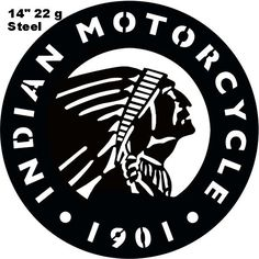 Indian Motorcycle 1901 Series Laser Cut Out Silhouette Sign 14x14 Round