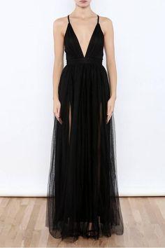 Sexy Black V Neck Side Slit Tulle Evening Gowns Prom Dresses-Pgmdress